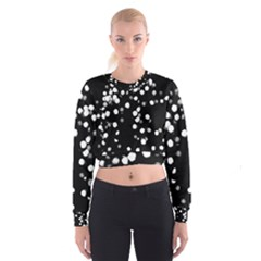 Little Black And White Dots Women s Cropped Sweatshirt