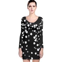 Little Black And White Dots Long Sleeve Velvet Bodycon Dress