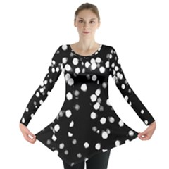 Little Black and White Dots Long Sleeve Tunic