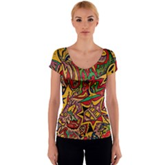 4400 Pix Women s V-Neck Cap Sleeve Top