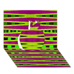 Bright Green Pink Geometric Apple 3d Greeting Card (7x5)