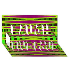 Bright Green Pink Geometric Laugh Live Love 3d Greeting Card (8x4)