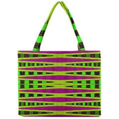 Bright Green Pink Geometric Mini Tote Bag