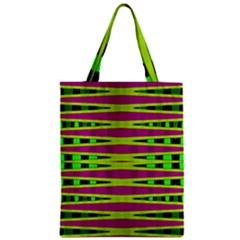 Bright Green Pink Geometric Zipper Classic Tote Bag