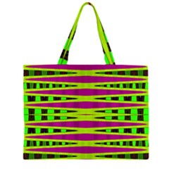 Bright Green Pink Geometric Large Tote Bag