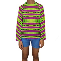 Bright Green Pink Geometric Kid s Long Sleeve Swimwear