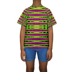 Bright Green Pink Geometric Kid s Short Sleeve Swimwear