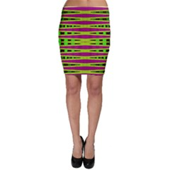 Bright Green Pink Geometric Bodycon Skirts