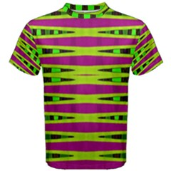 Bright Green Pink Geometric Men s Cotton Tee