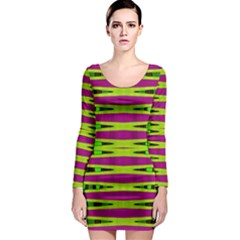 Bright Green Pink Geometric Long Sleeve Bodycon Dress