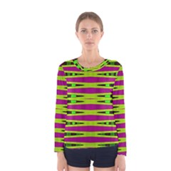Bright Green Pink Geometric Women s Long Sleeve Tee
