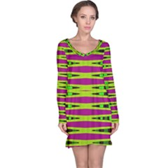 Bright Green Pink Geometric Long Sleeve Nightdress