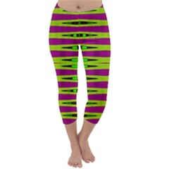 Bright Green Pink Geometric Capri Winter Leggings