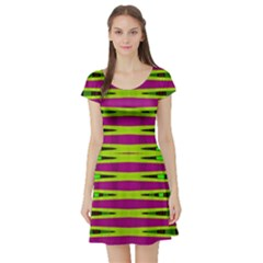 Bright Green Pink Geometric Short Sleeve Skater Dress
