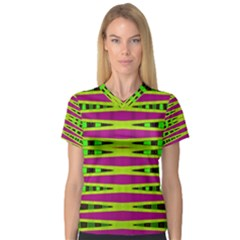 Bright Green Pink Geometric Women s V Neck Sport Mesh Tee