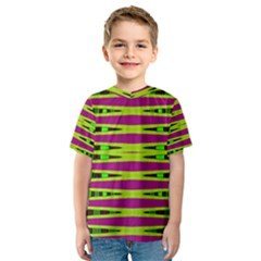 Bright Green Pink Geometric Kid s Sport Mesh Tee