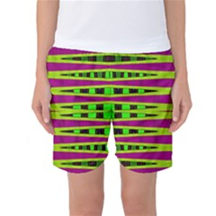 Bright Green Pink Geometric Women s Basketball Shorts