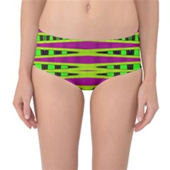 Bright Green Pink Geometric Mid-Waist Bikini Bottoms