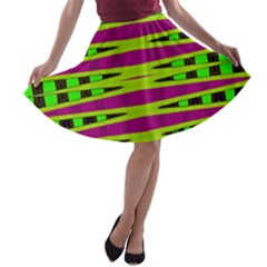 Bright Green Pink Geometric A Line Skater Skirt