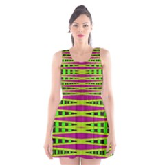 Bright Green Pink Geometric Scoop Neck Skater Dress