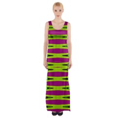 Bright Green Pink Geometric Maxi Thigh Split Dress