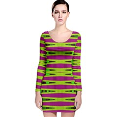 Bright Green Pink Geometric Long Sleeve Velvet Bodycon Dress