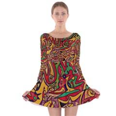 BIPOLAR FREE WILL Long Sleeve Velvet Skater Dress
