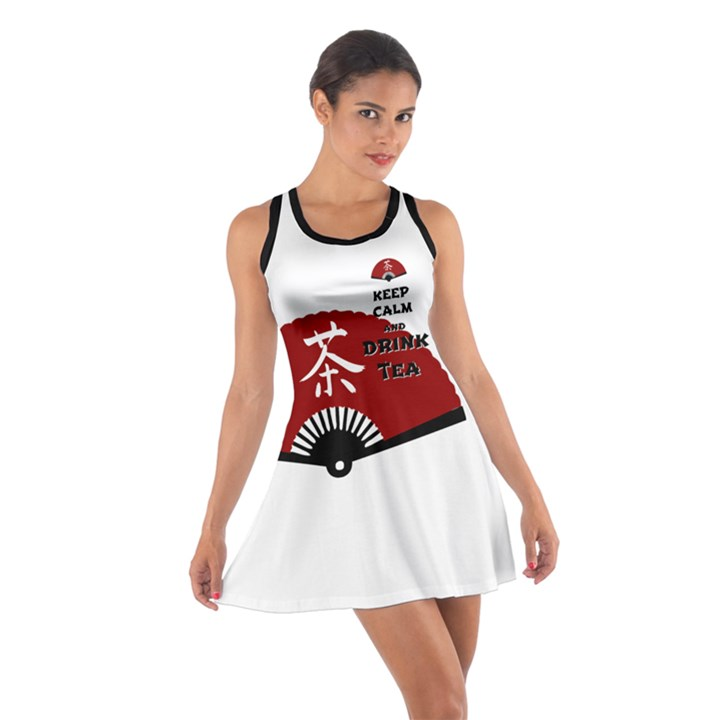 Keep Calm And Drink Tea - asia edition Cotton Racerback Dresses