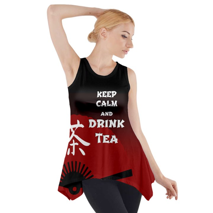 Keep Calm And Drink Tea - dark asia edition Side Drop Tank Tunic