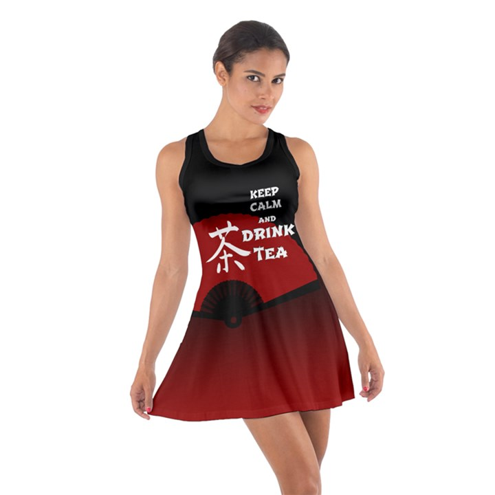 Keep Calm And Drink Tea - dark asia edition Cotton Racerback Dresses