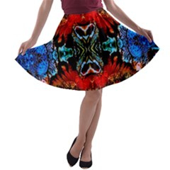 Colorful  Underwater Plants Pattern A-line Skater Skirt