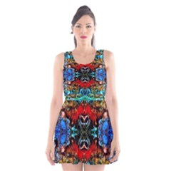 Colorful  Underwater Plants Pattern Scoop Neck Skater Dress