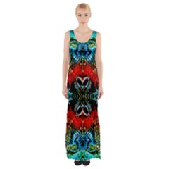 Colorful  Underwater Plants Pattern Maxi Thigh Split Dress