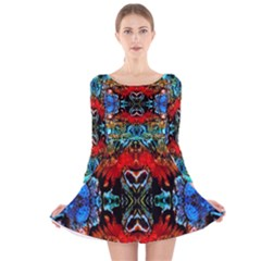 Colorful  Underwater Plants Pattern Long Sleeve Velvet Skater Dress