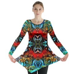 Colorful  Underwater Plants Pattern Long Sleeve Tunic
