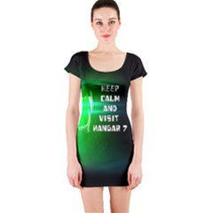 KEEP CALM AND VISIT HANGAR 7  Short Sleeve Bodycon Dress