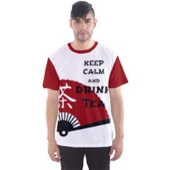 Keep Calm And Drink Tea   Light Asia Edition Men s Sport Mesh Tee