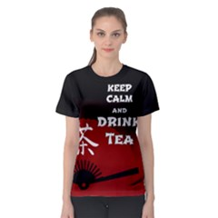 Keep Calm And Drink Tea - dark asia edition Women s Sport Mesh Tee