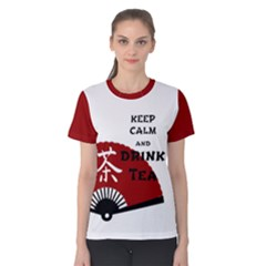 Keep Calm And Drink Tea   Light Asia Edition Women s Cotton Tee