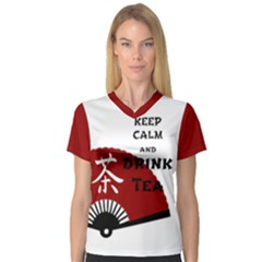 Keep Calm And Drink Tea - light asia edition Women s V-Neck Sport Mesh Tee