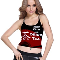 Keep Calm And Drink Tea - dark asia edition Spaghetti Strap Bra Top
