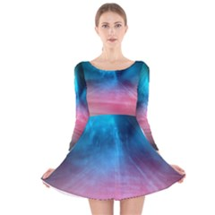 Aura By Bighop Collection Long Sleeve Velvet Skater Dress