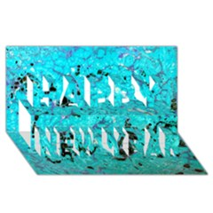 Aquamarine Collection Happy New Year 3d Greeting Card (8x4)
