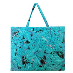 Aquamarine Collection Zipper Large Tote Bag