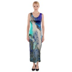 Violet Art Fitted Maxi Dress