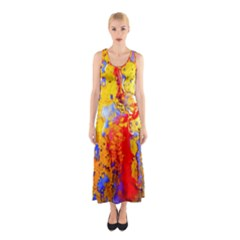 Gold And Red Full Print Maxi Dress