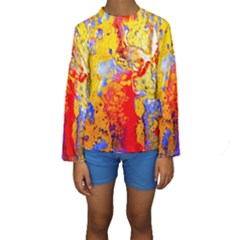 Gold And Red Kid s Long Sleeve Swimwear