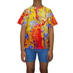 Gold And Red Kid s Short Sleeve Swimwear