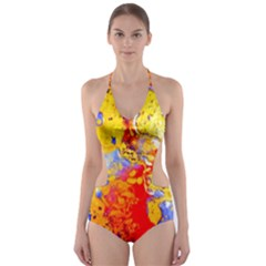 Gold And Red Cut-Out One Piece Swimsuit