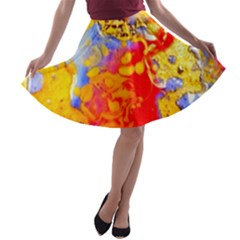 Gold And Red A-line Skater Skirt